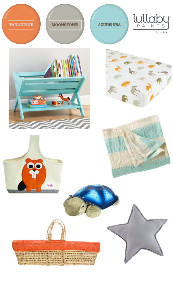 orange, gray, and aqua nursery inspiration