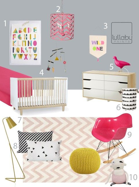 gray pink and yellow nursery inspiration