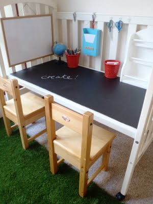 Baby Crib turned Chalkboard Table