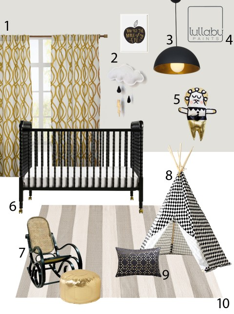 modern black white and gold nursery lullaby paints